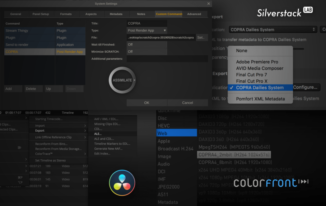 COPRA integration in various post-production tools